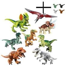 лучшая цена Jurassic World 2 Tyrannosaurus Building Blocks Dinosaurs Figures Bricks  Rex Indominus Rex I-Rex Assemble Kids Toys