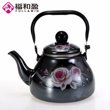 лучшая цена 1.0L Enamel Mirror Glaze Pot Traditional Chinese Pear shaped pot Thickened Water Kettle with Steel Funnel