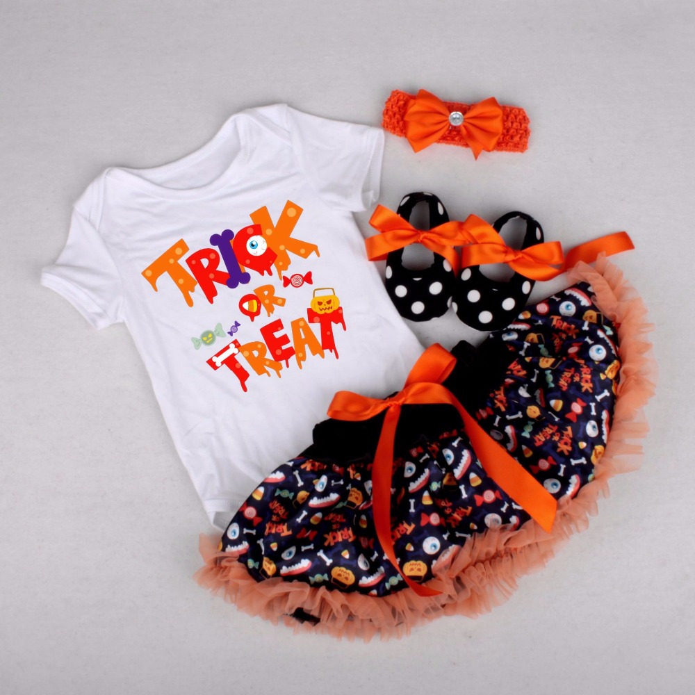 newborn baby halloween clothes pumpkin letter short sleeve rompers
