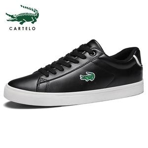 Image 3 - CARTELO גברים של נעלי ניו נעליים יומיומיות גברים של עור שטוח נעליים עם מחשוף סניקרס קטן לבן נעליים לנשימה