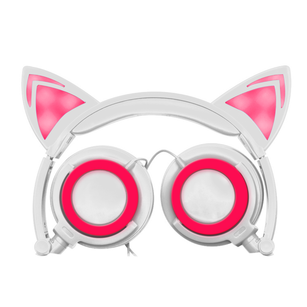 Foldable Flashing Glowing Cat Ear Headphones Gaming Headset Earphone with LED Light For PC Laptop Computer Mobile Phones high quality sound effect gaming headset with led light over ear glowing stereo headphones with mic for computer pc laptop gamer