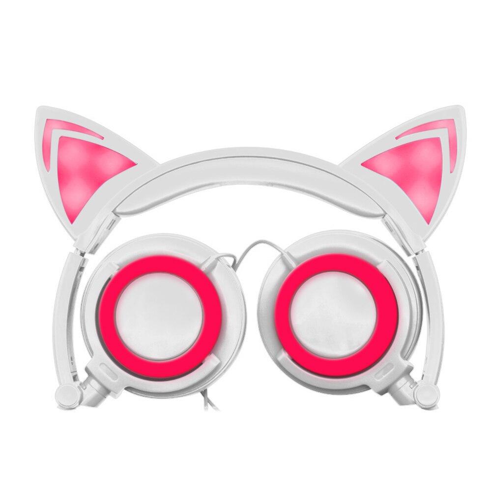 Plegable Intermitente Glowing Cat Ear Auriculares para Juegos de Auriculares con
