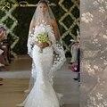 2015 véu nupcial branco / marfim 3 m longo véu De Noiva mantilha acessórios do casamento De véu De Noiva com flores De renda pérolas MD3053