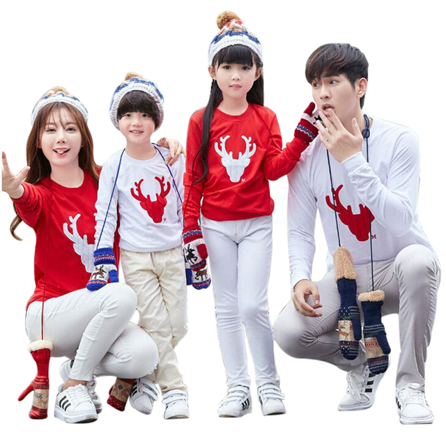 Autumn Winter Family Matching T Shirts Outfits 2017 New Kids Baby And Mom Dad
