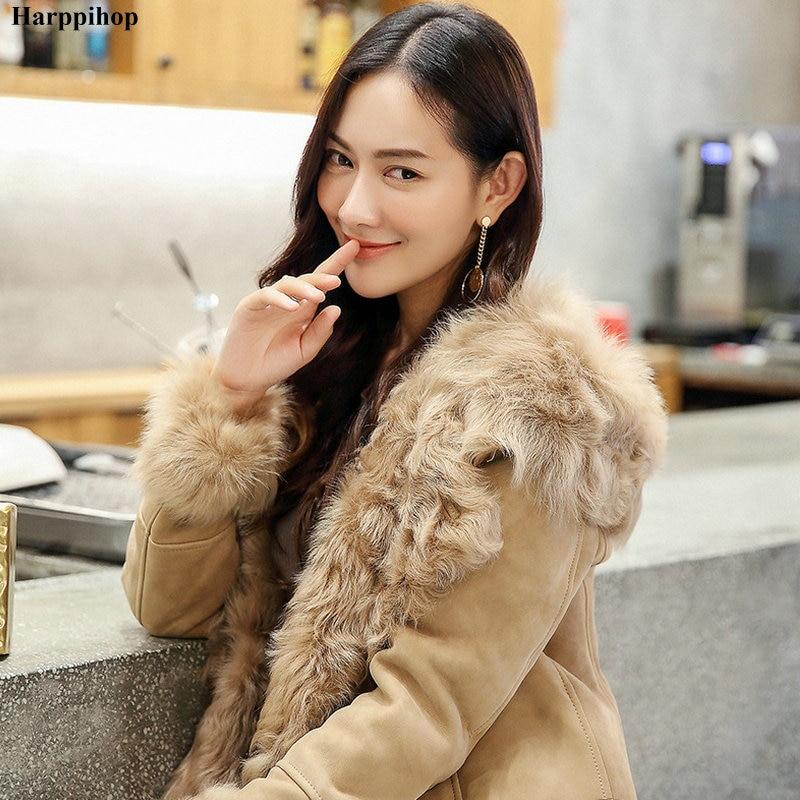 2019 Winter Ladies Genuine Natural sheepskin Fur Coat Jacket with Fur hood Women long Fur Outerwear