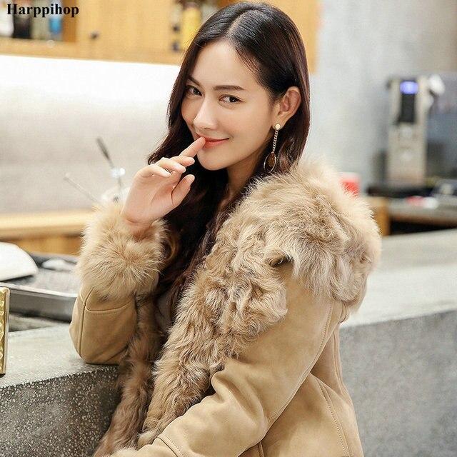 9f937e5b54dec 2019 zimowe damskie prawdziwe naturalne futro kożuch płaszcz kurtka z  kapturem futra kobiet długie futro odzieży