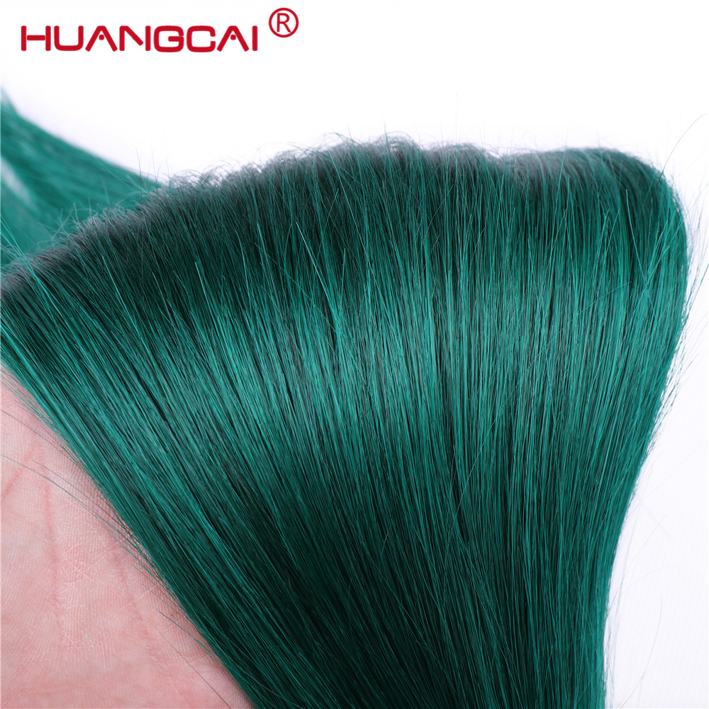 Ombre Brazilian Straight Hair Weave Bundles 3pcs 1b/ Green Two Tone Human Hair Bundles Remy Hair Extensions 3 Bundles Deal-in Hair Weaves from Hair Extensions & Wigs    3