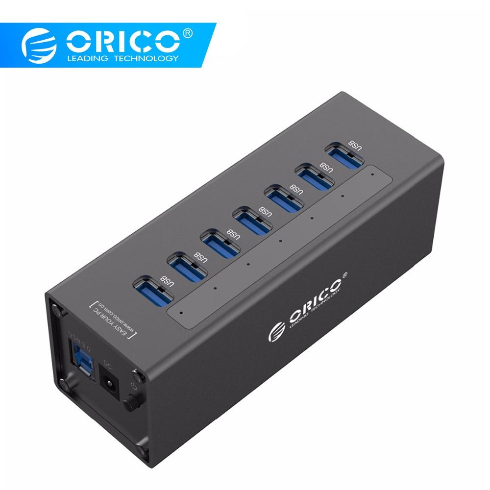 ORICO A3H7 USB 3.0 HUB Haute Vitesse En Aluminium 7 Port USB 3.0 HUB Pour PC/Ordinateur Portable-Noir