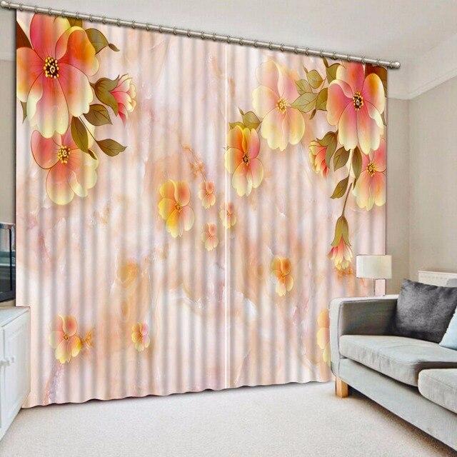 custom printing slaapkamer gordijnen haken polyesterkatoen gordijnen voor raam decoratie oranje bloem 3d keuken