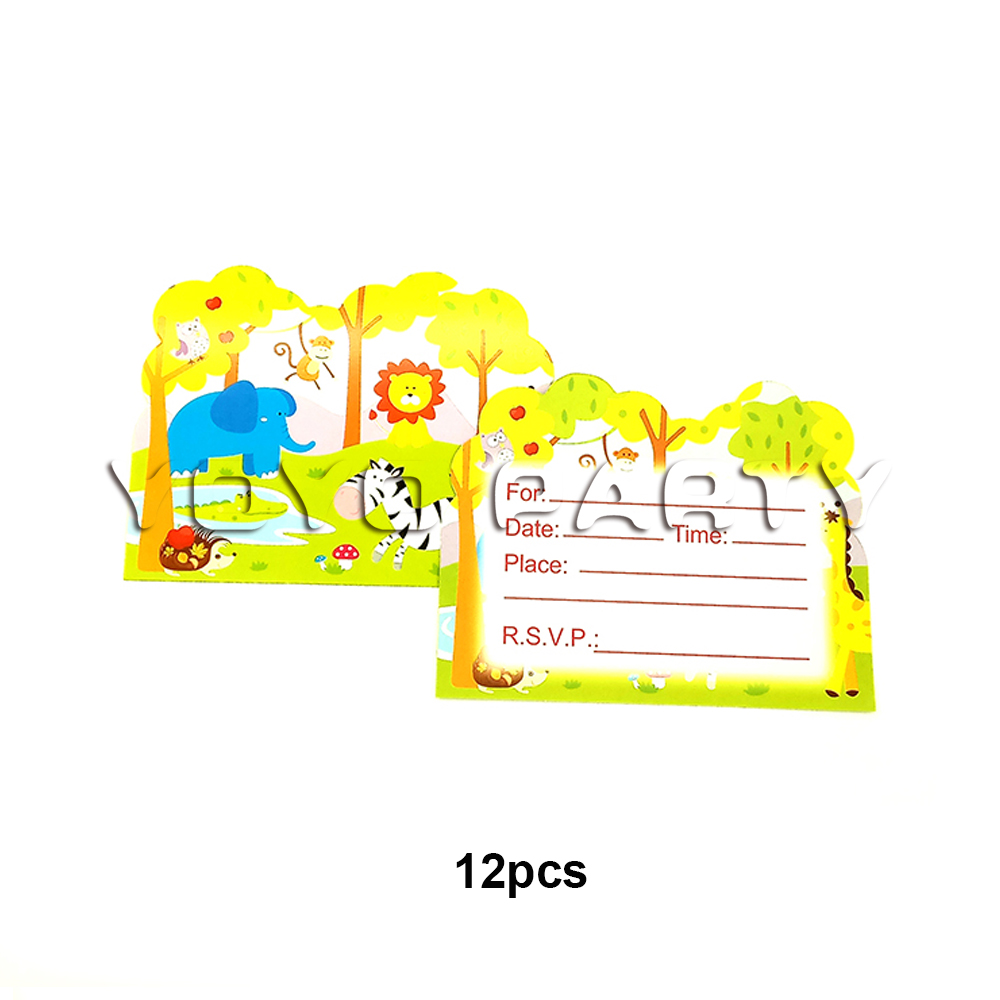 Us 1 99 For Kids Children Safari Jungle Animals Theme Birthday Party Supplies Party Decoration 12pcs Invitation Card Invitations In Cards