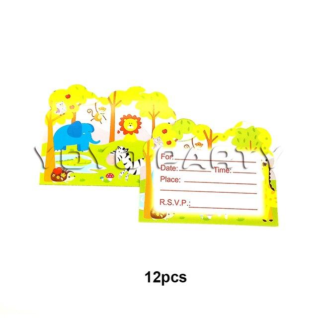For Kids Children Safari Jungle Animals Theme Birthday Party Supplies Decoration 12pcs Invitation Card Invitations