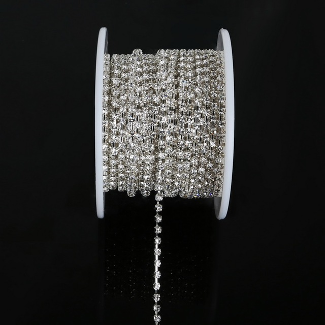 new deals 10yards roll clear crystal SS6(1.9 2.0MM) silver base ... 639326c30e1f