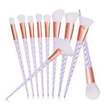 New 10Pcs Unicorn Spiral Handle Soft Hair Makeup Brushes Set Foundation Blush Blending Eyeshadow Eyeliner Lip Cosmetic Tool Kit