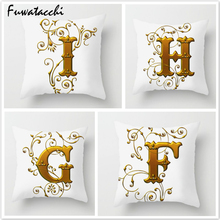 Fuwatacchi 26 Alphabet Throw Pillows Gold Floral Letter Cushion Cover Pillow for Sofa Home Car Decorative Pillowcases