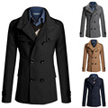 New british classic long black gray trench coat double breasted slim fit Outdoors Outwear Jacket Windbreaker plus size 3XL blue