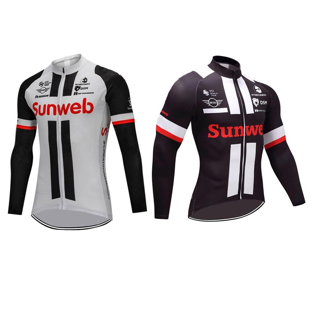 75e4ce546 SUNWEB long sleeve cycling jersey Tour de France bike wear winter fleece or  no fleece men