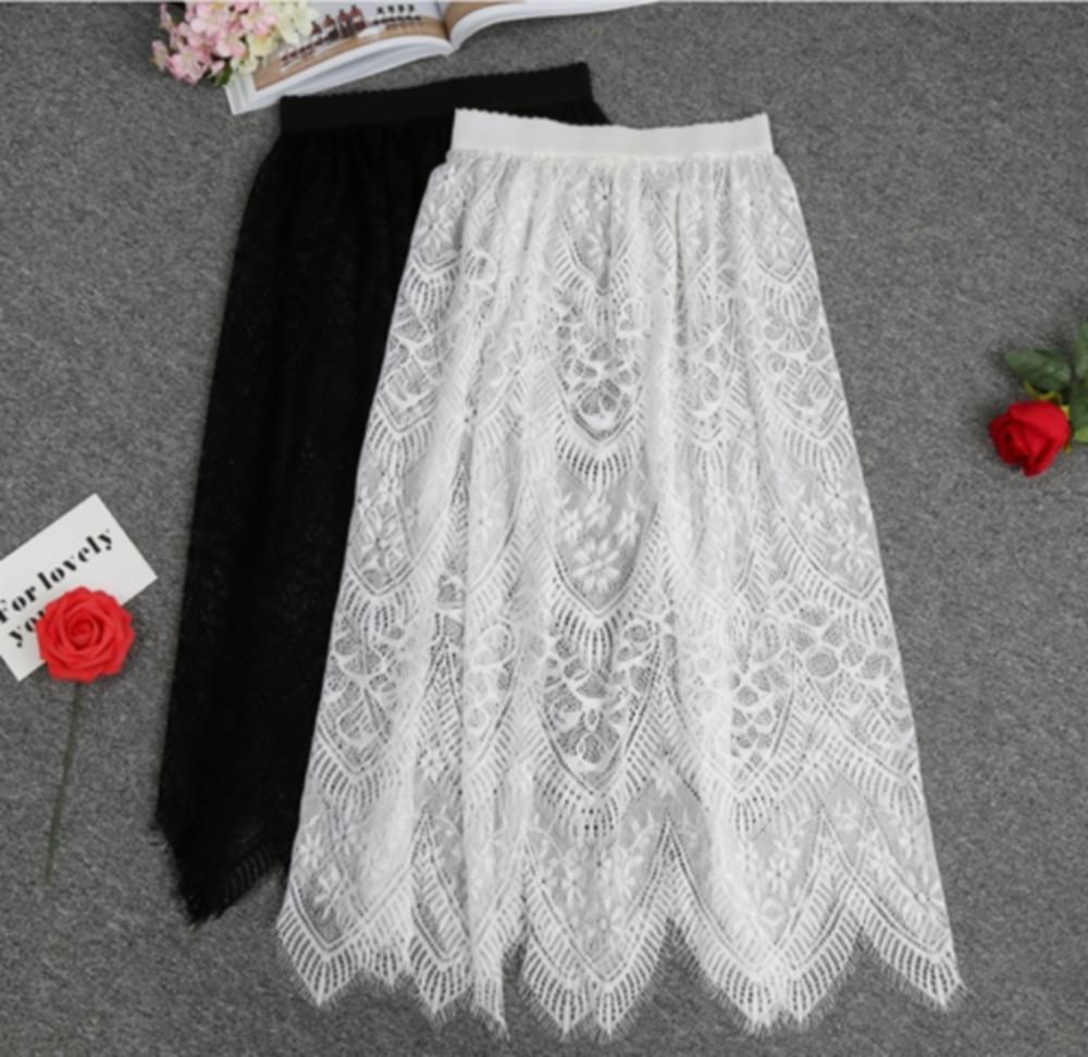 Women Floral Lace Petticoat Hollow Underskirt Black