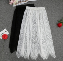 Women Floral Lace Petticoat Hollow Underskirt Black / White Slips Half Slip Underskirt Long Underdress Summer Dress CZL8408
