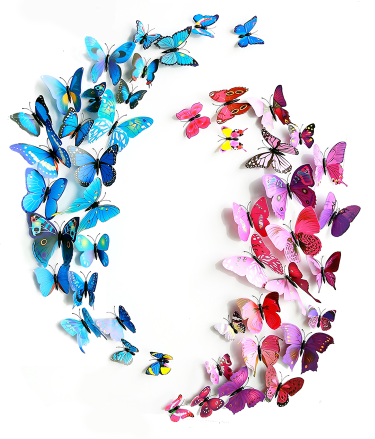 2set (24pcs.) Hot Sale PVC 3D Butterfly With Safty Pin Size Assorted Home Wedding Decoration Curtain Cloth Hat DIY Decoration