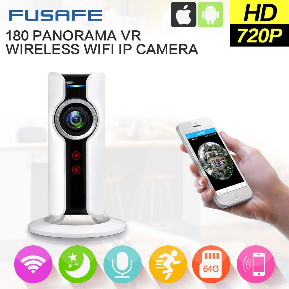 180 Degree Mini WiFi Panoramic IP Camera HD 720P Fisheye Micro SD Camera Wireless Network Audio Surveillance Night Vision Cam erasmart hd 960p p2p network wireless 360 panoramic fisheye digital zoom camera white