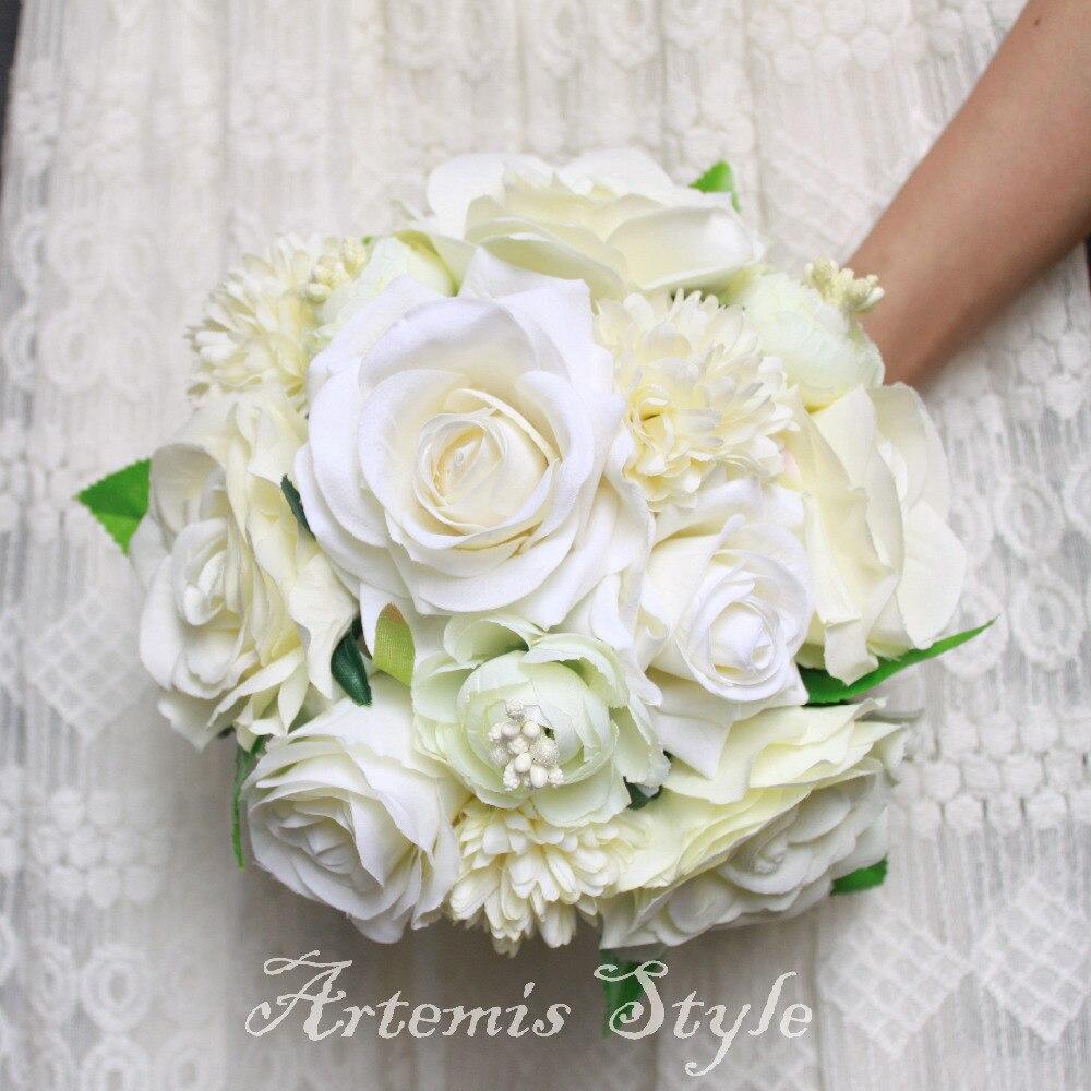 Bouquet Sposa Total White.Ivory White Wedding Bouquet Roses Camellias Dahlias Daisy Mixed