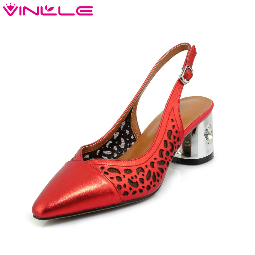 VINLLE 2018 Summer Women Shoes Genuine Leather Square Med Heel Slingback Pointed Toe Ladies Wedding Pumps Size 34-39