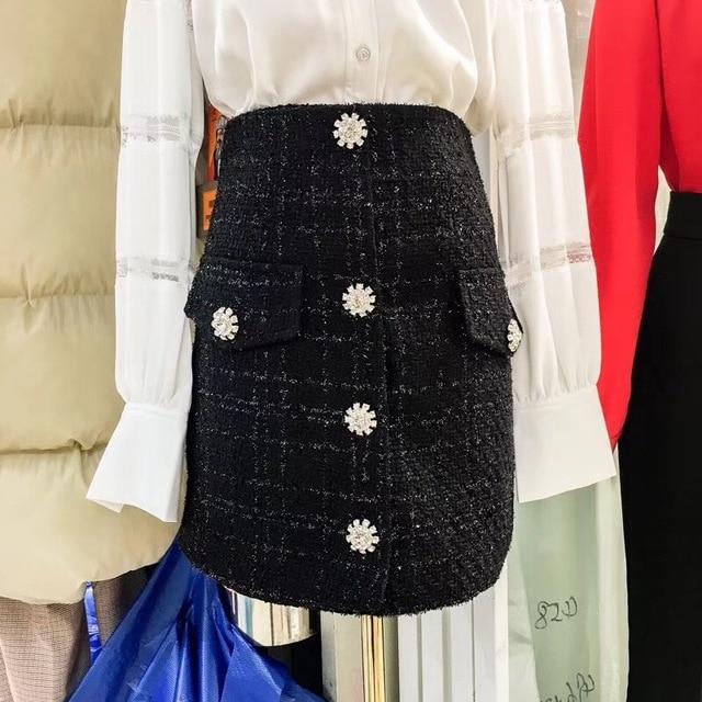 3dcd2cbf179 Small fragrant tweed skirt Rhinestone Buckle 2018 new spring pocket high  waisted A-line A skirt