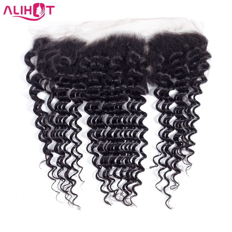 ALI HOT Brazilian Deep Wave Frontal 13*4 Ear To Ear 100%Human Hair Free Part Lace Frontal Closure Remy Hair Frontal Nature Color