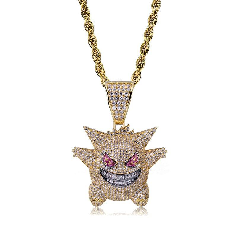 (kleine Größe) Herren Halsketten Halloween Maske Anhänger Halskette Mit Kette Neue Ankunft Cubic Zirkon Anhänger Hip Hop Schmuck Verkaufspreis