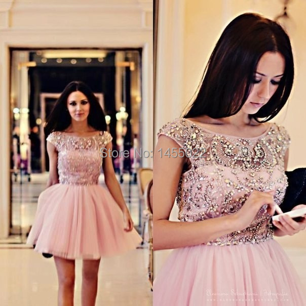 Short Pink font b Cocktail b font font b Dresses b font 2016 Beautiful New Fashion
