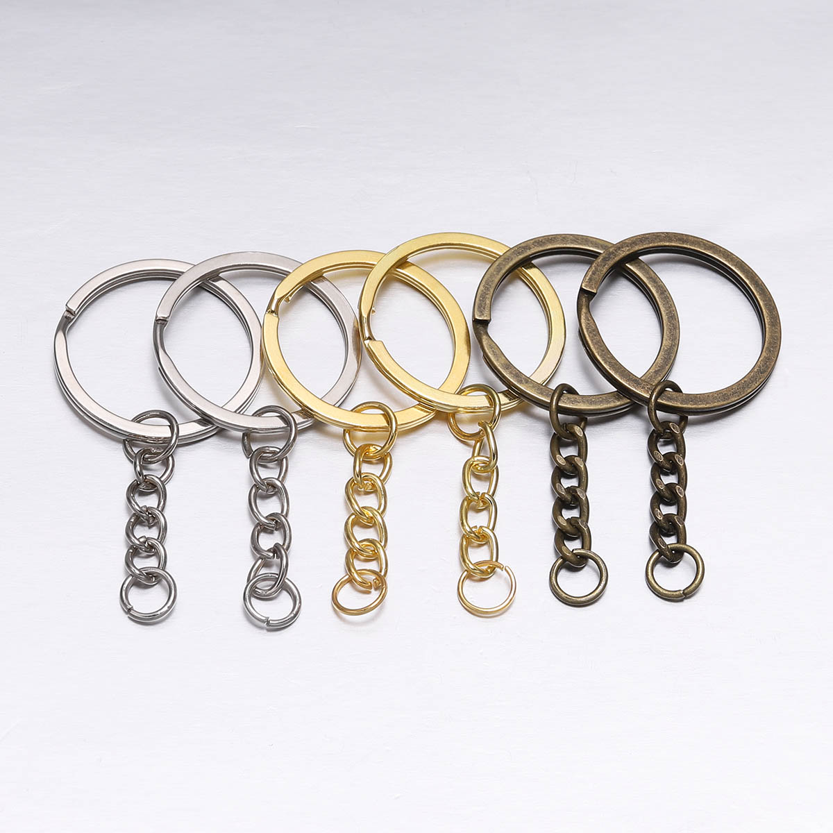 10 Pcs 30mm Polished Silver Gold Long Round Split Keyrings Keychain With Short Chain Key Rings Supplies For DIY Jewelry Making