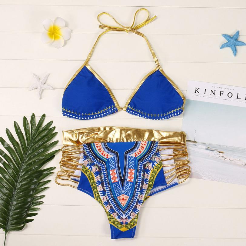 Womail 2018 Womens African Print Swimwear Sexy High Waist Bikini Set Push Up Padded Swiming suit May Beach Swimsuit 3 Colors