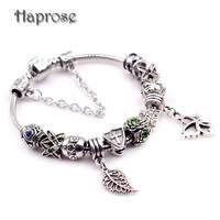 Fashion Diy Jewelry silver color Crystal Beads Bracelet for Women Antique Silver Plated Starfish Charm Bracelets Girls Gift