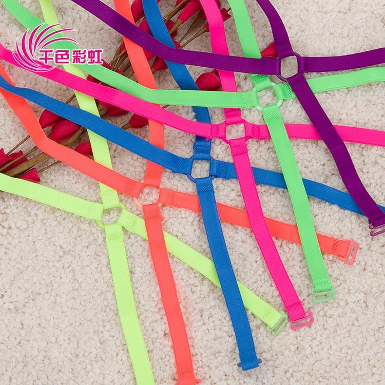 1cm Neon candy solid color elastic shoulder bra strap back cross slip-resistant underwear bra with /Fashion bra strap