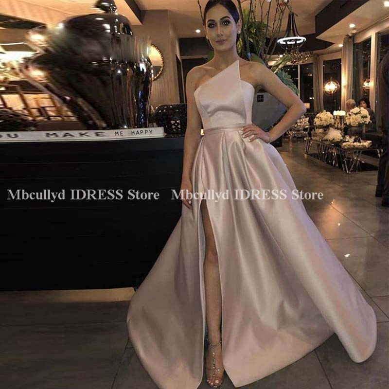Fashion A-line Bridesmaid Dresses African Women 2019 Sleeveless Long Maid Of Honor Dress Sexy High Split Dress For Wedding Party