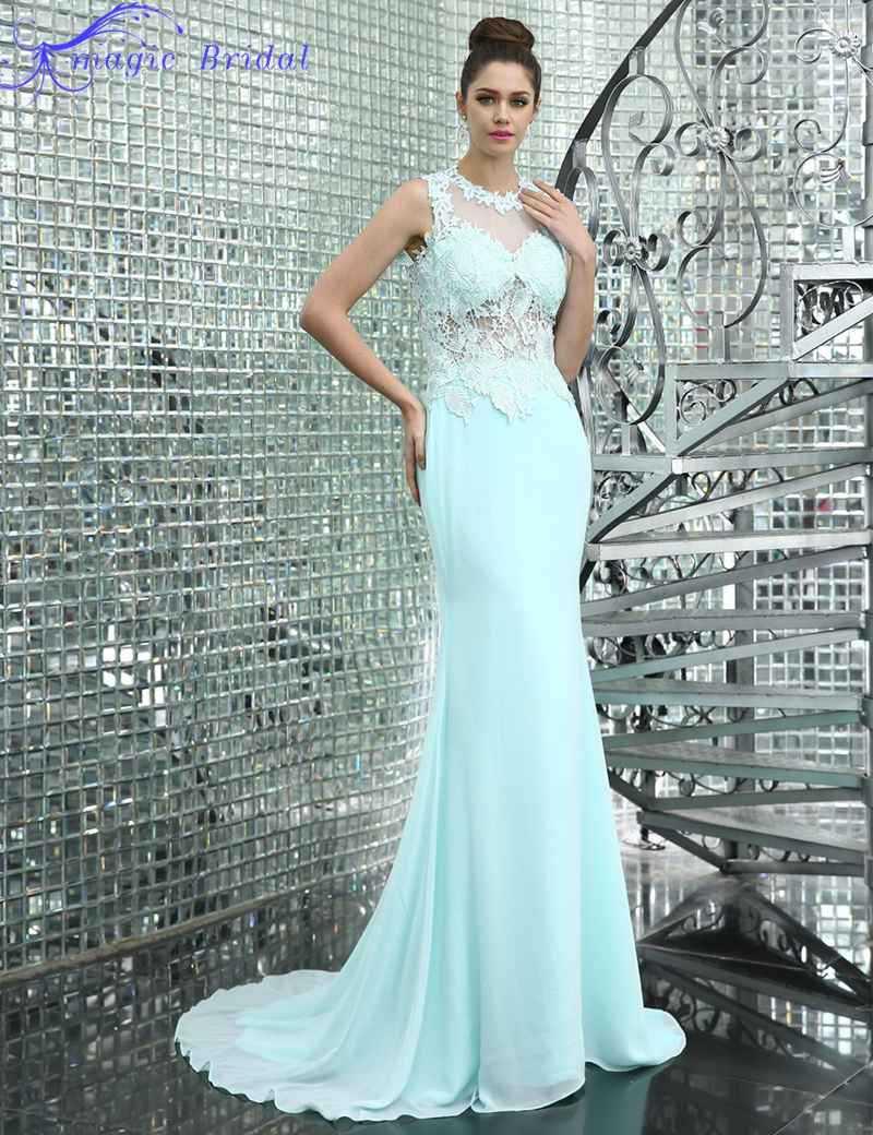 Long Elegant Light Blue Lace Prom Dress A Line Prom Dresses Fast ...