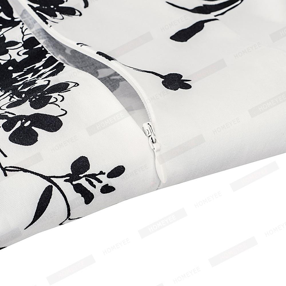 Summer Women Vintage Black Floral Print Sleeveless Swing A-line Elegant Lady O-Neck Knee-Length Dress EA099 3