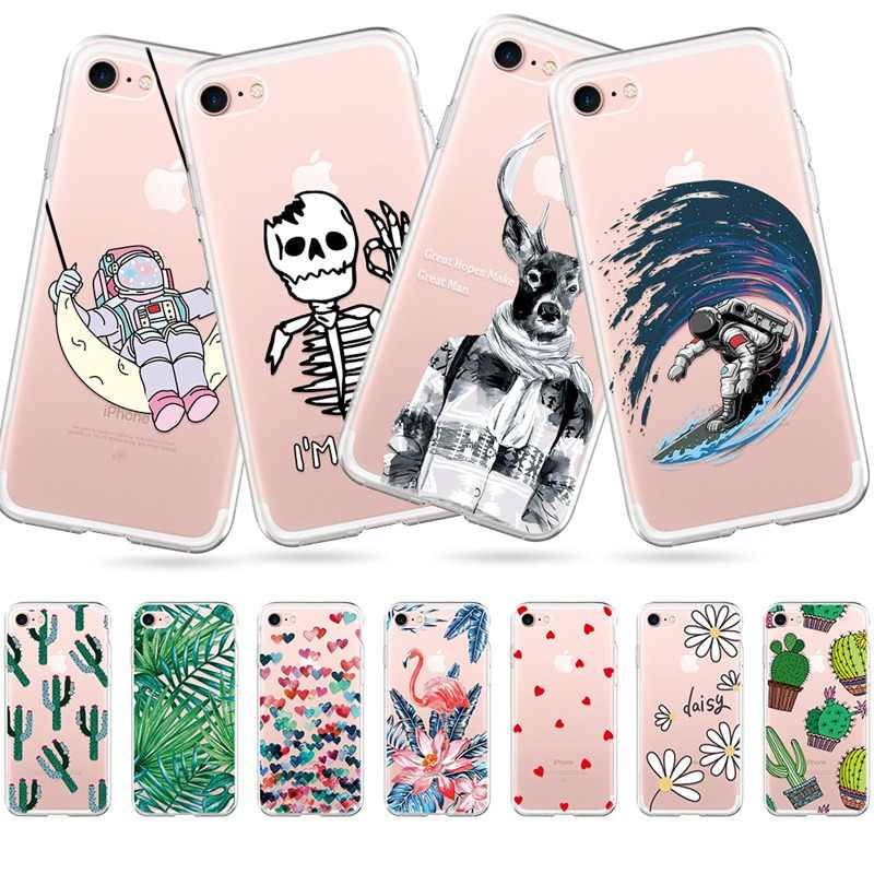 Cute Phone Case For iPhone 7 8 Plus 6 6S X XS Max XR 5 5s SE Soft Silicone Cover For iPhone 6 S PLUS 7 8 Cactus Flamingo Cases