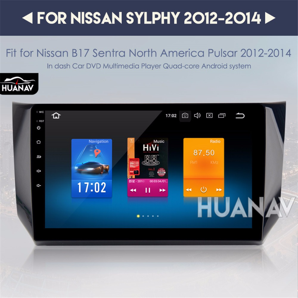 NO Traço de navegação GPS Do Carro para Nissan Sylphy Sentra B17 Android 8.0 10.2 IPS tela Grande auto multimídia estéreo sem dvd player