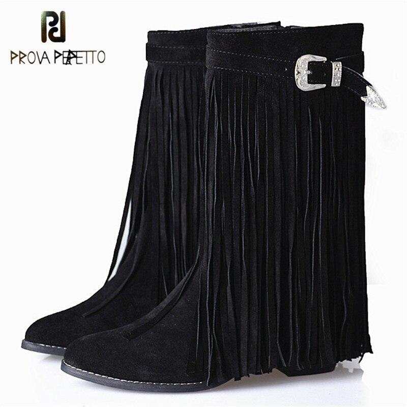 e08e45d5 ... tacones altos botas calientes para mujer. Cheap Prova Perfetto flecos  enteros alrededor de botas de gamuza de vaca mujeres remaches de Color