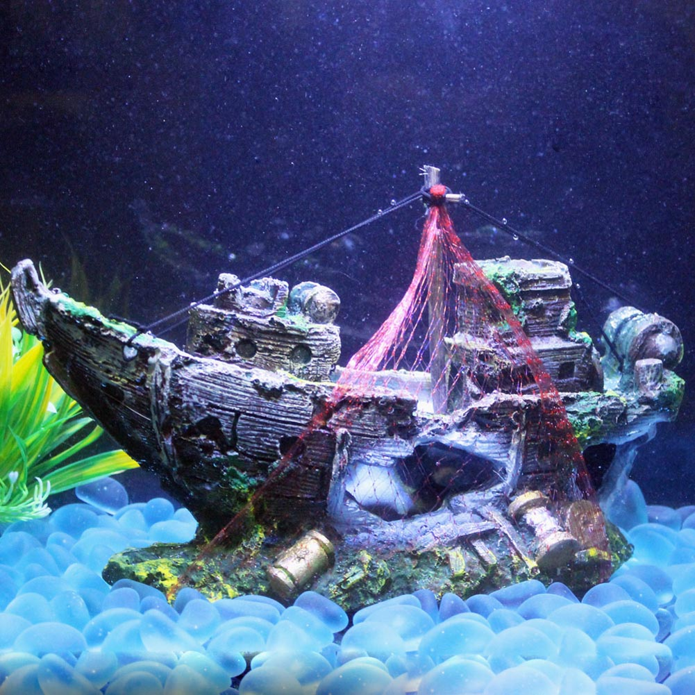 Resin Aquarium Ornament Artificial Wreck Sunk Ship Sailing ...
