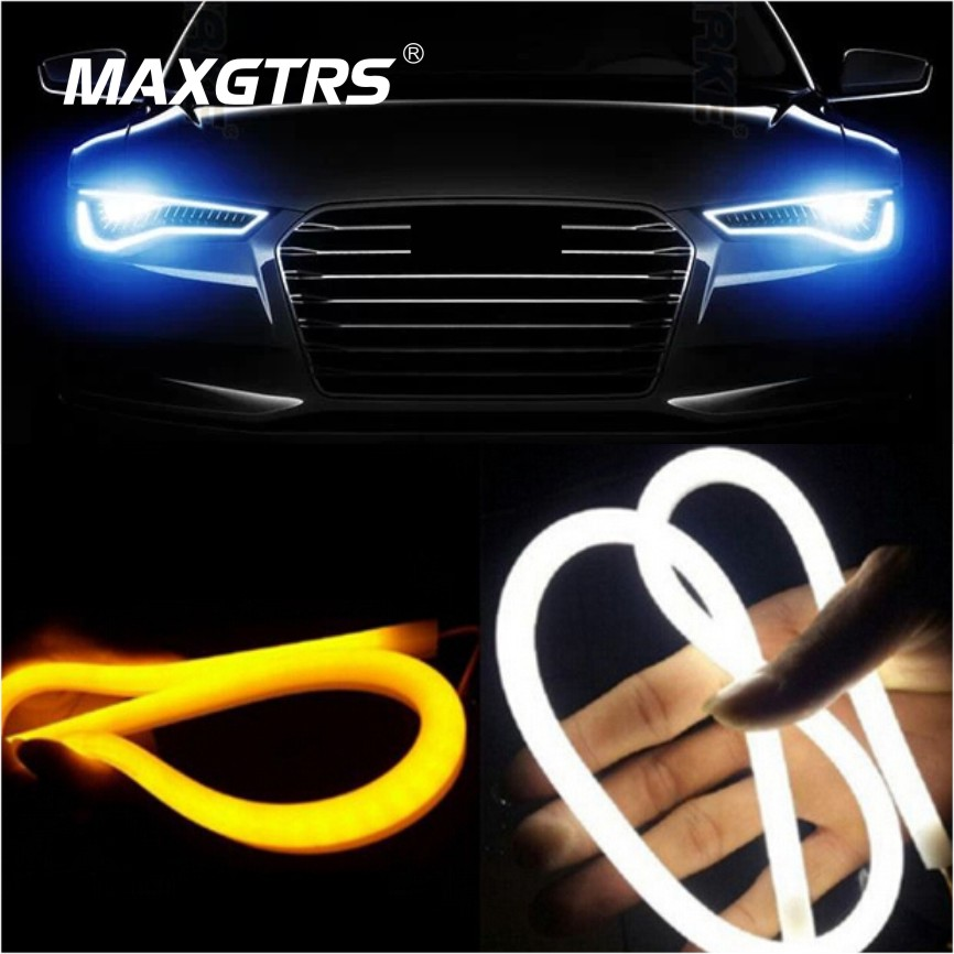 2x 30 45cm 60cm 85cm Daytime Running Light Universial Flexible Soft Tube Guide Car LED Strip White DRL Yellow Turn Signal Light 2pcs 30cm drl 12v 3colors white blue red flexible soft tears strip daytime running light with yellow turning signal light