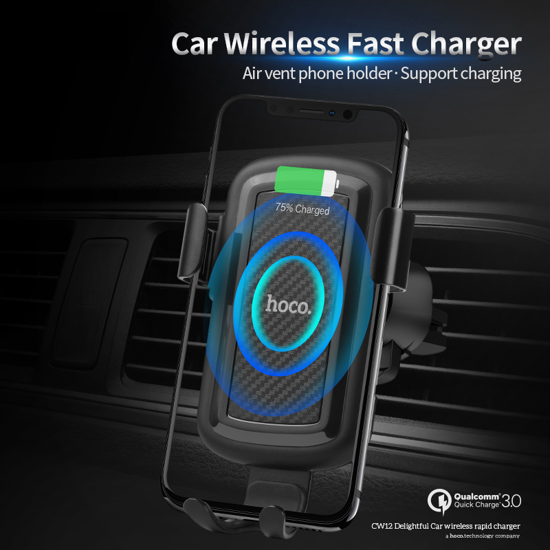 Image 2 - HOCO Car Qi Wireless Charger for iPhone Xs Max XR X 8 Plus Quick Charge Fast Wireless Car Mount Holder For Samsung S9 S8 2018-in Mobile Phone Chargers from Cellphones & Telecommunications