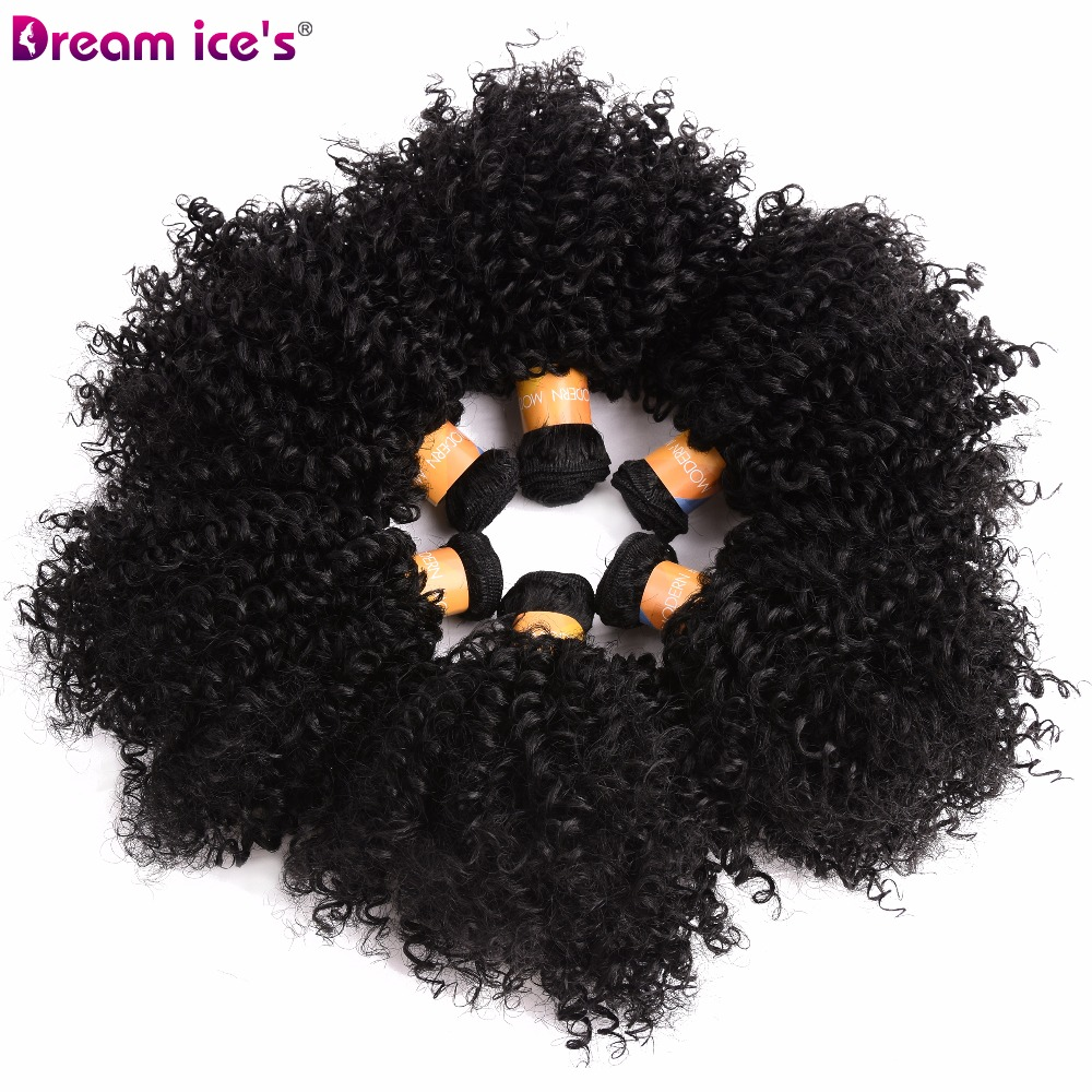 Dream Ice's Bouncy Curly Synthetic 6 Pcs/lot Natural Short Welf Bundles Black