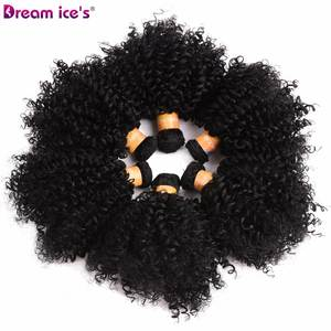 Synthetic Weave Short Bundles Hair Curly Dream Bouncy 6-Inch 6pcs/Lot Ice's Black Natural