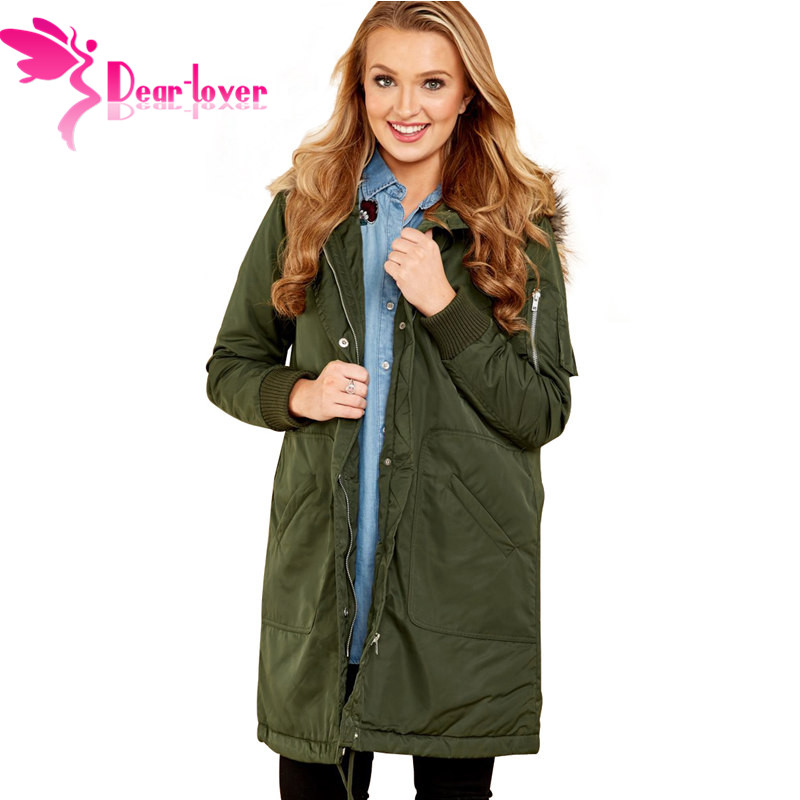 Dear Lover Women   Parka   2019 Winter Coat Women Casual Fur Collar Fashion Slim Female Jacket Overcoat Warm   Parka   Army Green Black