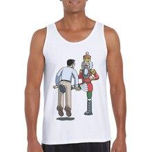 2019 Hot Sale Funny Sleeveless Vest Fitness Clothing Men Basic Cotton White Tank Top Mens Cartoon Printed Bodybuilding Singlet