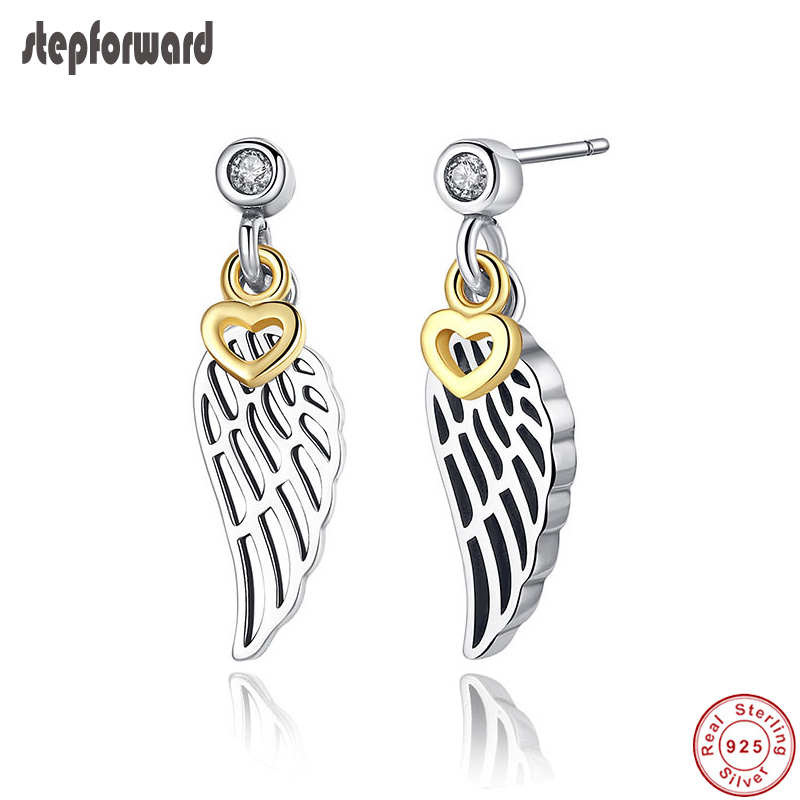 Very Popular High Quality Gold Love And Feather S925 Sterling Silver Earring Stub ...