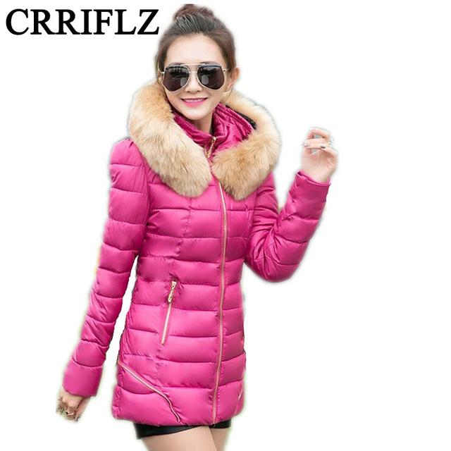 Mulheres Jaqueta de inverno 2016 Nova Moda Casaco Amassado Das Mulheres de Inverno casaco de Algodão Para Baixo Casaco Fino Parkas Jaquetas E Casacos Das Mulheres IF145