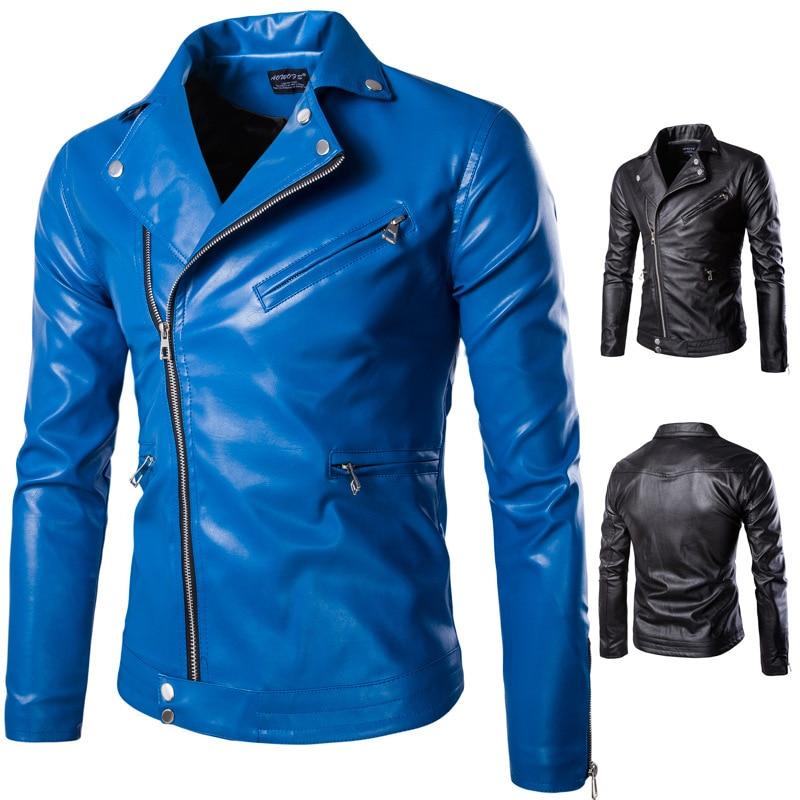 2017 punk style simple PU leather jackets men blue casual Oblique zipper locomotive leather jacket for men size M-5XL Y667
